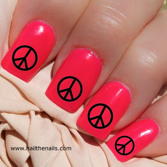 Black Peace Signs Nail Art Water Transfer Decal Y595