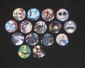 15 Nightmare and Christmas Flatback or Pinback buttons 1 inch