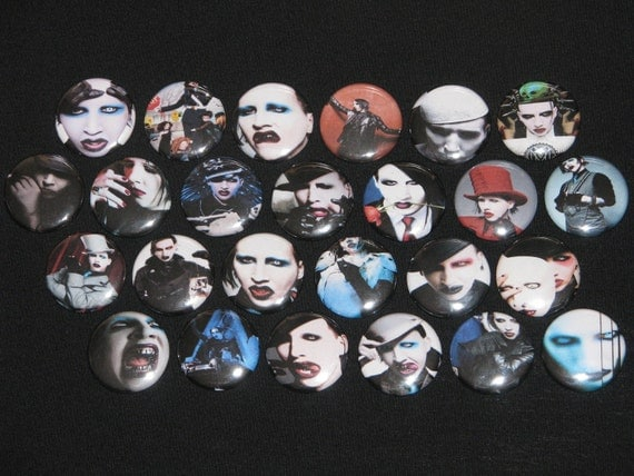 25 Marilyn Manson Flatback or Pinback buttons 1 inch