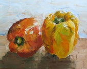 "Two Peppers -Oil Still Life Painting 11x14"" Original Artwork"