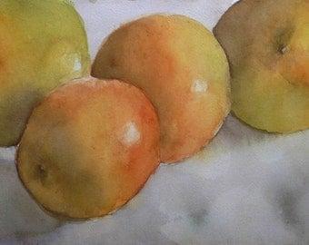 "Oranges 1 -Watercolor Still Life Painting 11x18"" Original Artwork, kitchen art, fruit"