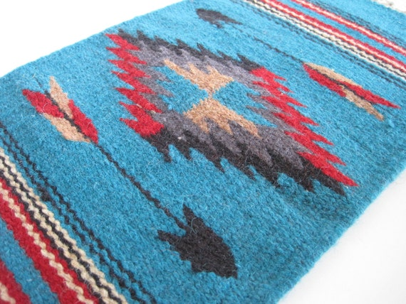 weave woven wall hanging art aztec arrows geometric or small rug aqua red