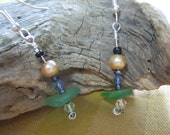 Charming pearl, crystals and sea glass earrings