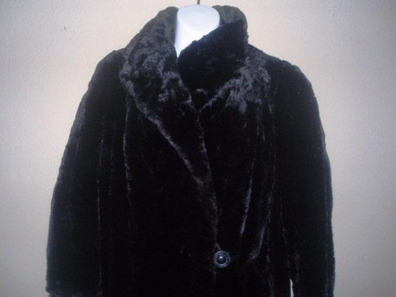 1940s, Black Sheared Beaver Coat, Full Length, SZ 16 - 18, Very Wearable