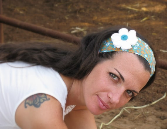 Colorful, floral Headband, ties in the back, hair band with white flower.