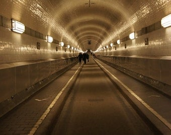 Tunnel.    Under the Elbe river in Hamburg, Germany. Light yellow glow,  Elbtunnel, architecture industrial  follow fine art photo. 8x10