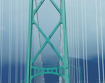 Suspended.   Lions Gate Bridge, Vancouver, BC. Canada  Bridges Suspension Green Fog Blues Architecture Struts 8x10