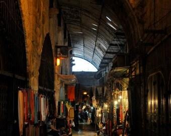 Market.  Travel Consumer Red Gold Shopping  Corridors  Old City, Jerusalem. Fine Art Photography 8x10