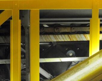 Yellow. | Escalator Industrial Consumer Mall Metal Machine Frisco, Texas Fine Art Photography 8x10