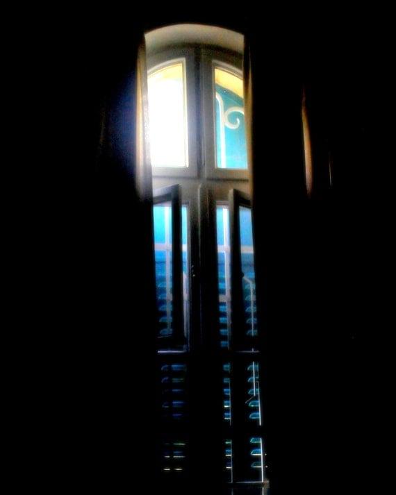 Soul Window. | Peek Light Streaming Blues Shuttered Bedroom Jerusalem. Fine Art Photography 8x10