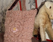 Beautiful Flower Crochet handbag/tote in Dusky Pink.