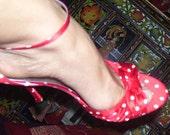 Red silk polka dot sexy 1940's retro look shoe