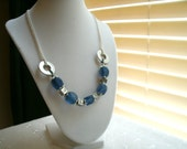 """Glass and chain necklace, """"Big Blue."""""""