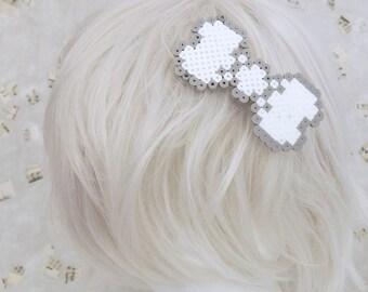 White and Grey Punk Pixel Art 8 bit  Hair Barrette - customizable colors