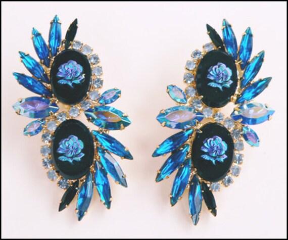 DiMartino Originals Royal Blue Rose Earrings