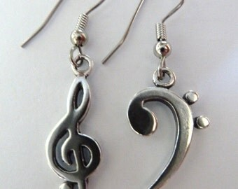 Treble Clef- Bass Clef-Earrings-Sterling Silver