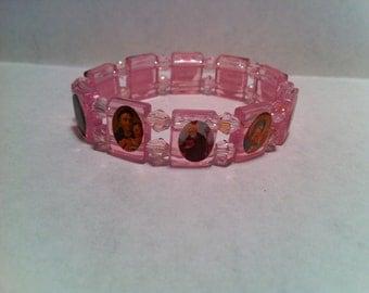 Pink All Saints crystal sparkly Beaded Bracelet