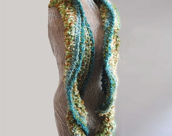 Womens accessories scarf Cowl in teal, olive green and brown Deevinci  READY TO SHIP