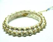 double wrap bracelet, white Czech rhinestones, swarovski