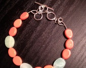 Coral and Turquoise Toggle Close Bracelet