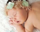 Mint Cream Halo Flower Headband - Newborn Baby Prop Photography
