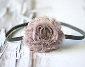 Gray Chiffon Headband Rosette Flower - Newborn Baby Prop