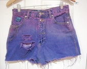 Vintage High Waisted Ombre Denim Shorts - Size Medium
