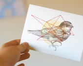 original embroidered swallow bird illustration greeting card with watercolors, pencil and threads