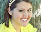 Braided Headband 2 Rows - Gold & White