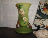Roseville Pottery Green Apple Blossom Vase