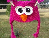Crochet Owl Hat with Ear flaps for babies, kids, teens, and adults