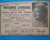Vintage 1940's Hawaii Paper Ad Annoucement of  Marjorie Lawrence Performance