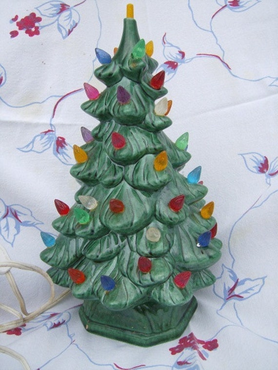 Vintage Ceramic Christmas Tree 1970s 70s Lights Up w Base PERFECT Handmade 1971 11'  tall kitsch holidays