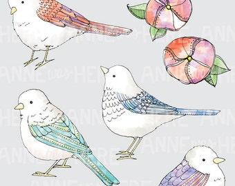 Watercolor Birds Clip Art, Bird Clip Art, Watercolor Clip Art, Birds Clip Art, Pretty Clip Art, Painted Clip Art, Painted Birds Clip Art