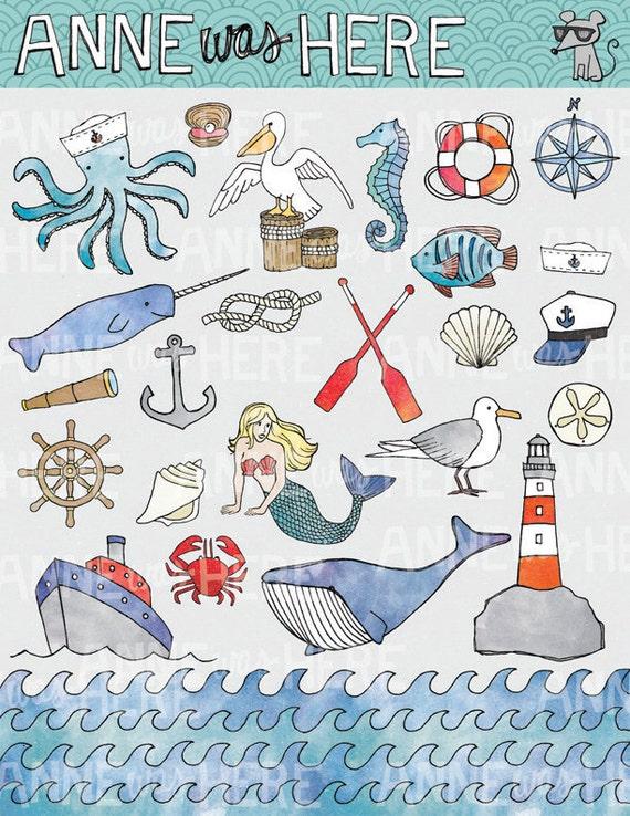 Nautical Clip Art - Nautical Digital Clip Art - Nautical Clip Art Pack - Ocean Clip Art - Sea Clip Art - Painted Clip Art - Octopus Clip Art