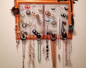 Jewelry Canvas Organizer Candy Orange with Gold Detailing