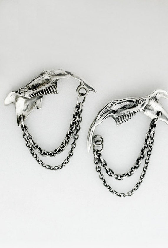 Fuki- silver jaw earrings and chains