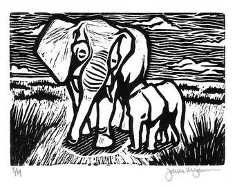 Protective Father, Elephants Original Block Print