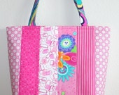 Quilted Patchwork stripe Tote Pink WHIMSY hand bag 10% off