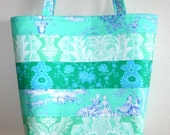 Teal Blue Paganelli fabric paisley quilted patchwork horizontal STRIPE tote purse