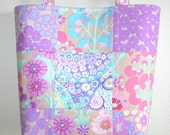 Purple Kaffe Fasset Quilted patchwork tote from Millefiore cotton fabric 10% off