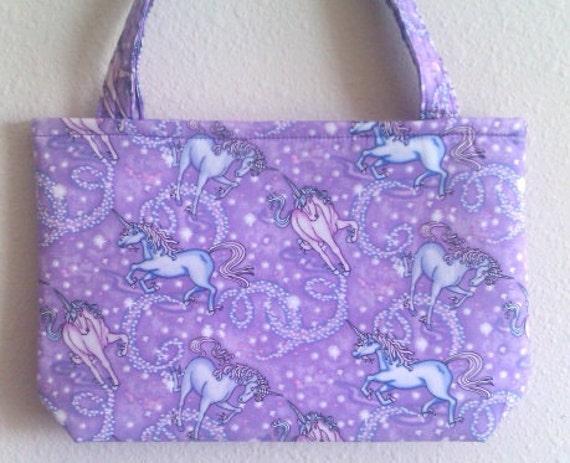 Whimsical Purple magical UNICORN novelty bag or purse