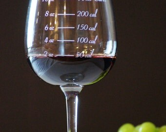 Caloric Cuvee: The calorie counting wine glass - weight loss - portion control - who cares wine glass - holiday gift - new year resolution