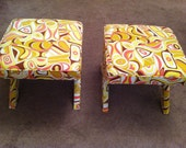 "Jonathan Adler ""X"" benches in vintage 70's Milly fabric"