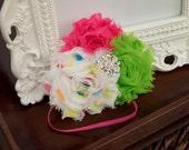 Funfetti  Shabby Chic baby Hair Bow vintage inspired pink & green Flower rosette Headband for girls