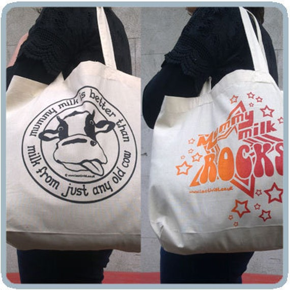 Pro Breastfeeding Organic Shopping Bag with 2 Designs
