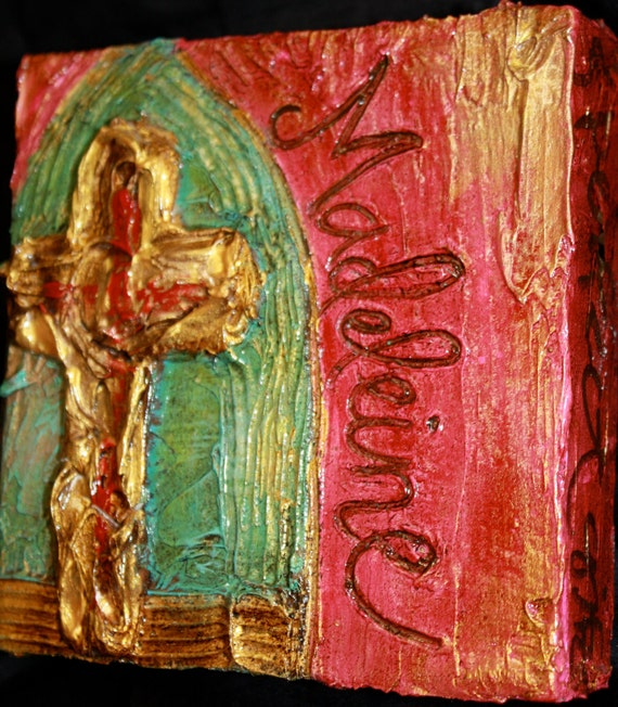 Personalized Gold Cross painting on wood with Madeleine - SOLD