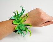 One of a kind Art Jewelry Bracelet, Large Colorful Claw Bracelet