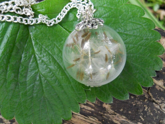 Dandelion Glass Orb Pendant Fairy Hollow Glass Pendant Necklace