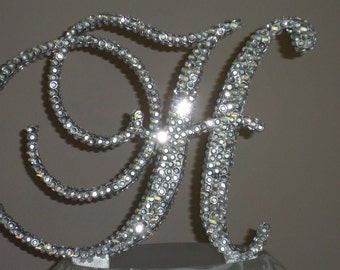 Gorgeous Swarovski Crystal Cake toppers 6'' with crystals added front & back and sides in Any Letter